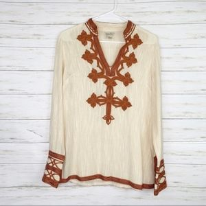Lucky Brand | Cream/Brown Embroidered Blouse